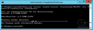 Administrator: Eingabeaufforderung - dism.exe /online /enable-feature /featurename:NetFX3 /All /Source:E:sourcessxs /LimitAccess