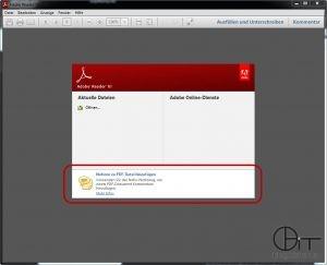 """""""Nachricht von Adobe"""" bei Start des Adobe Readers"""