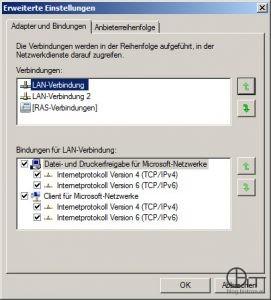 Anpassung der Zugriffsreihenfolge für Netzwerkdiense: Netzwerkverbinmdung mit Kontakt zum DNS-Server -> oberste Stelle