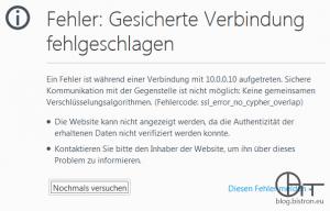 Firefox - SSL-Fehler beim Aufruf des APC NMC-Webinterface: Gesicherte Verbindung fehlgeschlagen. ssl_error_no_cypher_overlap