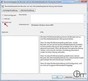 """GPO """"Remotedesktopdienste-Benutzer auf eine Remotedesktopdienste-Sitzung beschränken"""" - Deaktiviert"""