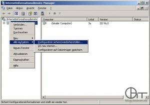 Internetinformationsdienste-Manager - Kontextmenü Server -> Alle Aufgaben -> Konfiguration sichern/wiederherstellen