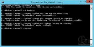 Eingabeaufforderung - Sicherung und Wiederherstellung der IIS7-Konfiguration mit appcmd.exe