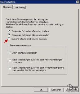 """MMC """"Konfigurieren des Remotedesktop-Sitzungshosts"""" - Nur eine Sitzung pro Benutzer zulassen - Eigenschaften"""
