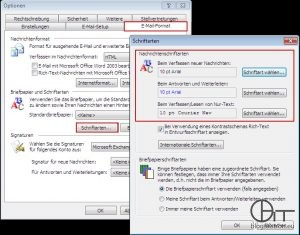 Outlook 2003: Standardschriftart einstellen