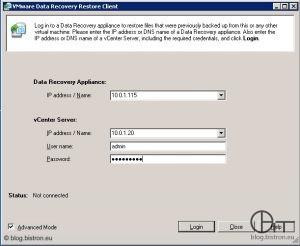 VDR Restore Client (FLR) - Anmeldung an VDR-Appliance