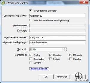 VDR 2.0: Konfiguraion E-Mail-Report