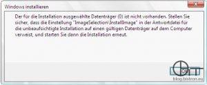 """WDS - fehlender Festplattencontrollertreiber - Fehler: Der für die Installation ausgewählte Datenträger () ist nicht vorhanden. Stellen Sie sicher, dass die Einstellung """"ImageSelection\InstallImage"""" in der Antwortdatei für die unbeaufsichtigte Installation auf einen gültigen Datenträger auf dem Computer verweist, und starten Sie dann die Installation erneut."""