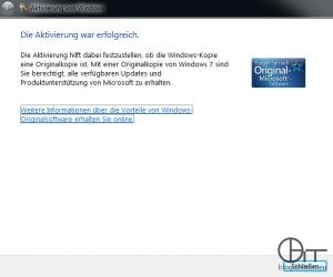 Windows Aktivierung erfolgreich